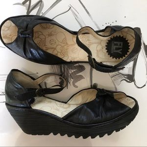 FLY London Black leather wedges size 41